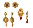 Donna Traditional Ethnic Gold Plated Floral earring combo with Crytsals For Women (CO1104552G)