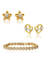 Mahi Combo Of Glory Gold Plated Two Pair Of Ear Studs & Bracelet For Women Co1104342G