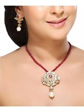 Ruby Kundans And Pearl Pendant Set
