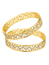 Mahi Gold Plated Effulgent Bangles With Crystals for Women BA1105032G, 2.4