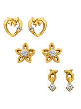 Mahi Combo of Beautiful Gold Plated Earrings For Women