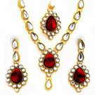 Red Kundan Stone Necklace Set