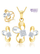 Sukkhi Fine Design Gold and Rhodium Plated CZ Pendant Set and Ring Combo, 9