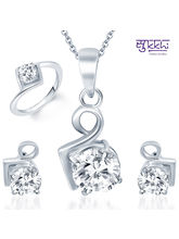 Sukkhi Graceful Rhodium Plated Solitaire CZ Combo, 11