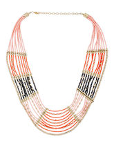Voylla Statement Necklace With Colorful Beads, gold