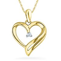 Ishis 18K Gold and Diamond Heart Pendant-70236, white gold