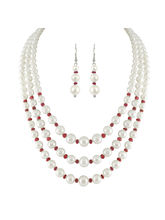 JPEARLS 3 String White Pearl Necklace Set