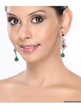 Traditional Earrings With Cz, Rubies And Emeralds