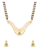 Voylla Mangalsutra With Huge Pendant Encrusted With CZ Featuring Double Chain - VLJAI20764