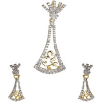 Shriya Innovative 18 Karat Gold Plated American Diamond Pendant Set