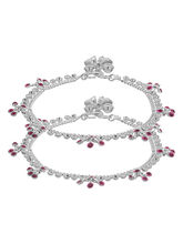 Voylla Pink Stones Decked Silver Toned Anklets, adjustable, silver