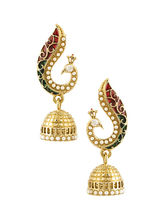 Voylla Peacock Inspired Pair Of Jhumki Earrings-SCBOM22813