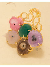 Voylla Floral Statement Ring Decked With Druzy Stones, adjustable, gold