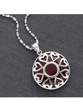 Round Agate And Silver Necklace