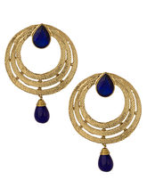 Voylla Gold Plated Circular Earring Pair Studded With Blue Stones - SCBOM20047