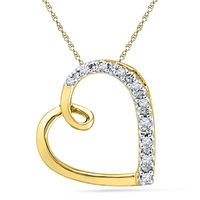 Ishis 18K Gold and Diamond Heart Pendant-9614, yellow gold