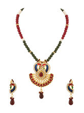 Voylla Peacock Inspired Scintillating Pendant Set - SCBOM21694