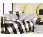 Valtellina Polycotton Ikat Design Double Bedsheet & with Two Pillow cover, blackwhite