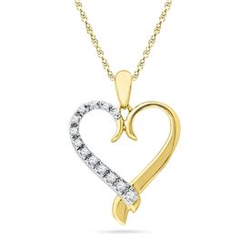 Ishis 18K Gold and Diamond Heart Pendant-8766, white gold