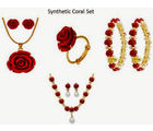 Nisa Pearls Valentine Combo of Synthetic Coral 1 Pendant Set, 1 Necklace Set 2 Bangle, and 1 Ring