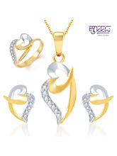 Sukkhi Bewitching Gold and Rhodium Plated CZ Pendant Set and Ring Combo, 11