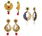 Donna Traditional Ethnic Gold Plated Peacock earring combo with Crytsals For Women (CO1104551G)
