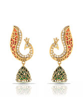 Donna Traditional Ethnic Red Green Peacock Gold Plated Jhumki Dangler Earrings with Crystals for Women ER30102G