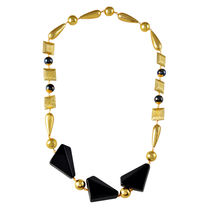 Go Bold Black And Gold Colored Clea Necklace (A05833)