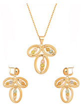Voylla Pendant Set with Chain with Leafy Design-SNJAI20739