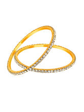 Mahi Gold Plated Winsome Beauty Bangles With Crystals for Women BA1105065G, 2.4