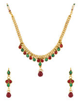 Voylla Traditional Gold Plated Necklace Set with Red and Green Color Stones-SCBOM22524