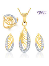 Sukkhi Glittery Gold and Rhodium Plated CZ Pendant Set and Ring Combo, 17