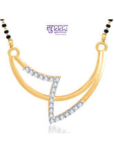 Sukkhi Creative Fashion CZ Gold and Rhodium Plated Mangalsutra Pendant