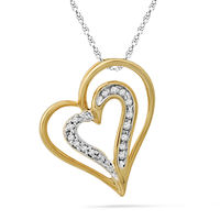 Ishis 18K Gold and Diamond Heart Pendant-24837, white gold