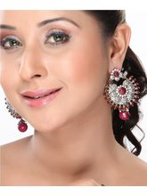 Rubies Beads Chand Bali Studded With Cz