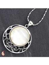 Round Shell Silver Necklace