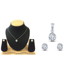 Shriya Combos Of Original Swarovski Zirconia Without Chain And Pearl Pendant Set With Chain
