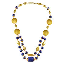 Go Bold Blue And Gold Colored Kara Necklace (A05832)