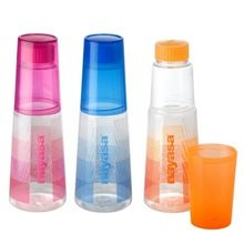 Nayasa Trendy Water Bottels With Drinking Glass Set Of 3, multicolor