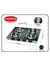 Padmini CS-4GT Jalwa Four Burner Gas Stove (Black)