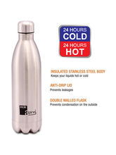 Eco Alpine Hot & Cold Thermosteel Vaccum Flask Bottle, 750 ml, silver