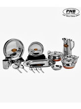PNB 51 Pieces High Quality Stainless Steel Dinner Set, multicolor