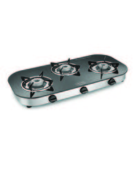 Padmini CS-3GT RU Crystal Black 3 Burner Gas Stove,  black