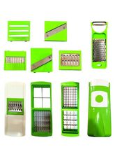 Zalak Green Plastic Slicer & Grater 12 in 1, multicolor