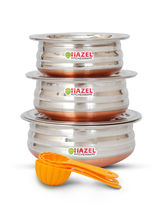Hazel Copper Bottom Urli with Lid-3 Pcs Set with Free 3 Pc Scoop Set, silver