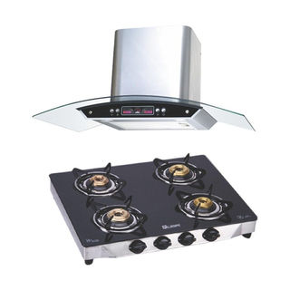 Quba G402 4 Burner Gas Cooktop (With Electric Chimney 1115)