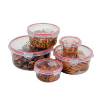 Storage Container Set of 5 Pcs and Transparent,  pink