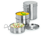Sizzle tiffin Lunch pack with Blue color Insulated Bag 250 ml Stainless Steel Medium (6 X3), silver