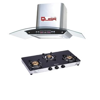 Quba G350A 3 Burner Gas Cooktop (With Electric Chimney 1115)