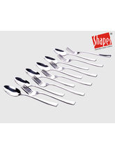 Shapes Gracia Dinner Spoons & Fork set 12 Pcs, silver